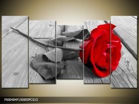 Canvas schilderij Roos | Rood, Grijs | 150x80cm 5Luik