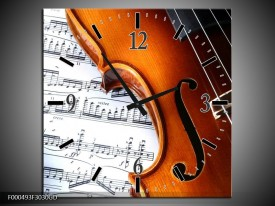 Wandklok op Glas Muziek | Kleur: Wit, Bruin, Zwart | F000493CGD