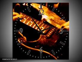 Wandklok op Glas Gitaar   Kleur: Bruin, Zwart, Geel   F000501CGD