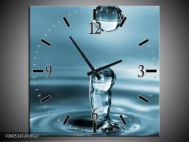 Wandklok op Glas Druppels   Kleur: Blauw, Wit   F000516CGD