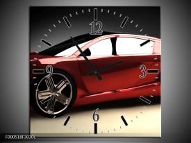 Wandklok op Canvas Auto | Kleur: Rood, Zwart, Grijs | F000518C