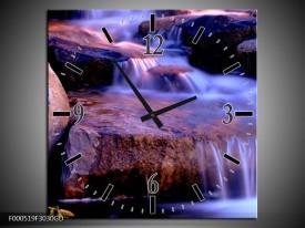 Wandklok op Glas Waterval | Kleur: Paars, Blauw, Bruin | F000519CGD