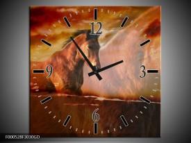 Wandklok op Glas Paard | Kleur: Bruin, Geel, Zwart | F000528CGD