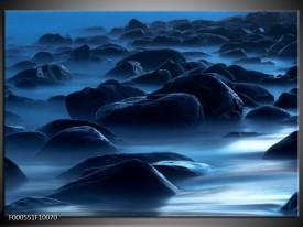 Foto canvas schilderij Stenen | Zwart, Blauw, Grijs