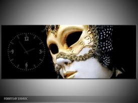 Klok schilderij Masker | Wit, Goud, Zwart | 100x40cm 1Luik