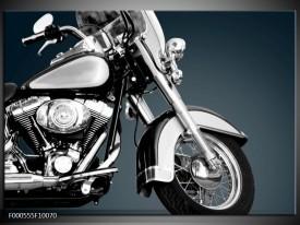 Foto canvas schilderij Motor | Zilver, Wit, Zwart