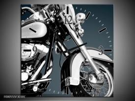 Wandklok op Canvas Motor   Kleur: Zilver, Wit, Zwart   F000555C