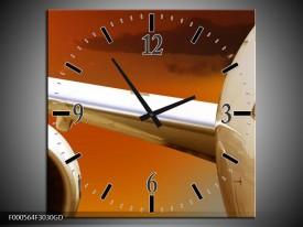 Wandklok op Glas Vliegtuig | Kleur: Wit, Oranje, Bruin | F000564CGD