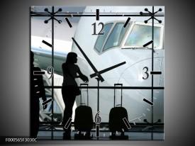 Wandklok op Canvas Vliegtuig | Kleur: Wit, Zwart, Grijs | F000565C