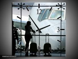 Wandklok op Glas Vliegtuig | Kleur: Wit, Zwart, Grijs | F000565CGD