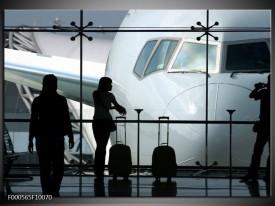 Glas schilderij Vliegtuig   Wit, Zwart, Grijs