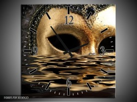 Wandklok op Glas Masker | Kleur: Goud, Zilver, Grijs | F000570CGD
