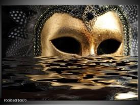 Glas schilderij Masker | Goud, Zilver, Grijs