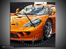 Wandklok op Glas Auto | Kleur: Oranje, Grijs, Wit | F000571CGD