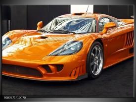 Glas schilderij Auto | Oranje, Grijs, Wit