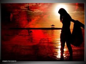 Glas schilderij Vrouw | Rood, Zwart, Wit