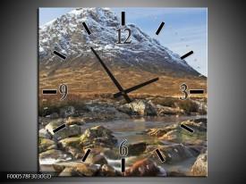 Wandklok op Glas Bergen   Kleur: Bruin, Wit, Groen   F000578CGD