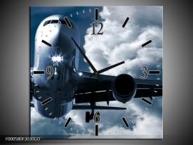 Wandklok op Glas Vliegtuig | Kleur: Blauw, Grijs, Wit | F000580CGD