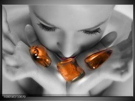 Glas schilderij Stenen | Oranje, Grijs, Wit