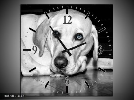 Wandklok op Canvas Hond | Kleur: Wit, Grijs, Zwart | F000583C