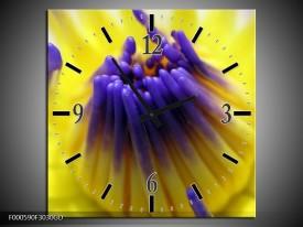 Wandklok op Glas Bloem | Kleur: Paars, Geel, Wit | F000590CGD