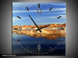 Wandklok op Glas Strand | Kleur: Geel, Blauw, Wit | F000617CGD