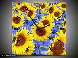 Wandklok op Glas Zonnebloem   Kleur: Geel, Blauw, Bruin   F000619CGD