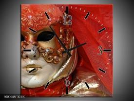 Wandklok op Canvas Masker   Kleur: Rood, Goud, Zwart   F000648C