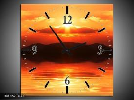 Wandklok op Canvas Zonsondergang   Kleur: Zwart, Geel, Rood   F000652C