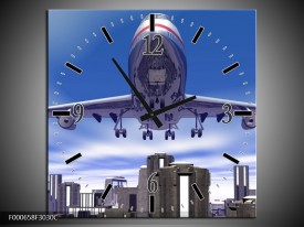 Wandklok op Canvas Vliegtuig | Kleur: Blauw, Wit, Grijs | F000658C
