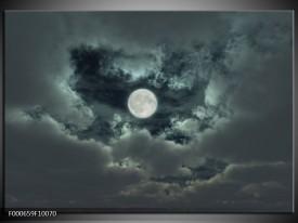 Foto canvas schilderij Maan | Grijs, Wit