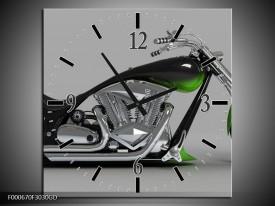 Wandklok op Glas Motor | Kleur: Groen, Grijs, Zwart | F000670CGD