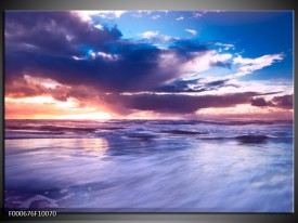 Glas schilderij Zonsondergang | Paars, Blauw, Wit