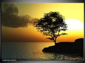 Glas schilderij Zonsondergang | Zwart, Geel, Grijs