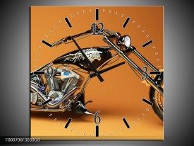 Wandklok op Glas Motor | Kleur: Oranje, Bruin, Zwart | F000706CGD