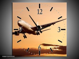 Wandklok op Canvas Vliegtuig | Kleur: Bruin, Geel, Zwart | F000710C