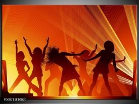 Glas schilderij Dansen | Rood, Zwart, Geel