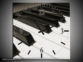 Wandklok op Canvas Piano   Kleur: Zwart, Wit   F000714C