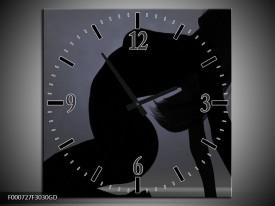 Wandklok op Glas Vrouw   Kleur: Zwart, Grijs, Wit   F000727CGD