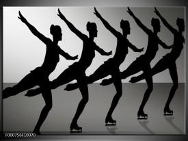 Glas schilderij Dansen   Zwart, Wit, Grijs