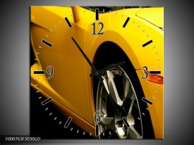 Wandklok op Glas Auto | Kleur: Geel, Zwart, Wit | F000763CGD