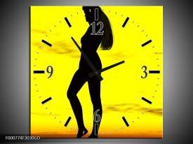 Wandklok op Glas Vrouw   Kleur: Geel, Zwart   F000774CGD
