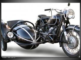 Foto canvas schilderij Motor | Grijs, Zwart, Wit