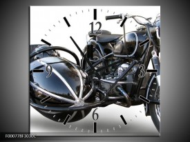 Wandklok op Canvas Motor   Kleur: Grijs, Zwart, Wit   F000778C