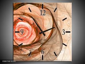 Wandklok op Canvas Roos | Kleur: Rood, Bruin, Zwart | F000794C