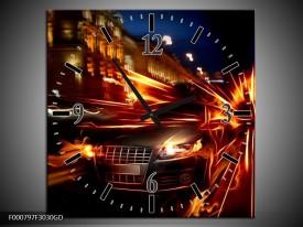 Wandklok op Glas Auto | Kleur: Rood, Oranje, Zwart | F000797CGD