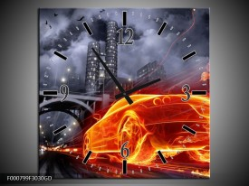 Wandklok op Glas Auto | Kleur: Rood, Oranje, Zwart | F000799CGD