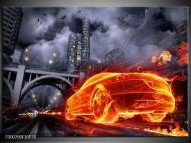 Glas schilderij Auto | Rood, Oranje, Zwart