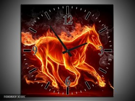 Wandklok op Canvas Paarden | Kleur: Rood, Oranje, Zwart | F000800C