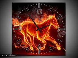 Wandklok op Glas Paarden | Kleur: Rood, Oranje, Zwart | F000800CGD